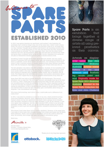 On the left is text about Spare Parts, exhibitions that took old prosthetic limbs and reimagined them as art. On the top right is a brightly colored prosthetic leg next to one in plain black tights, in the center is a note about Spare Parts, and at the bottom right is a smiling white woman with black hair.