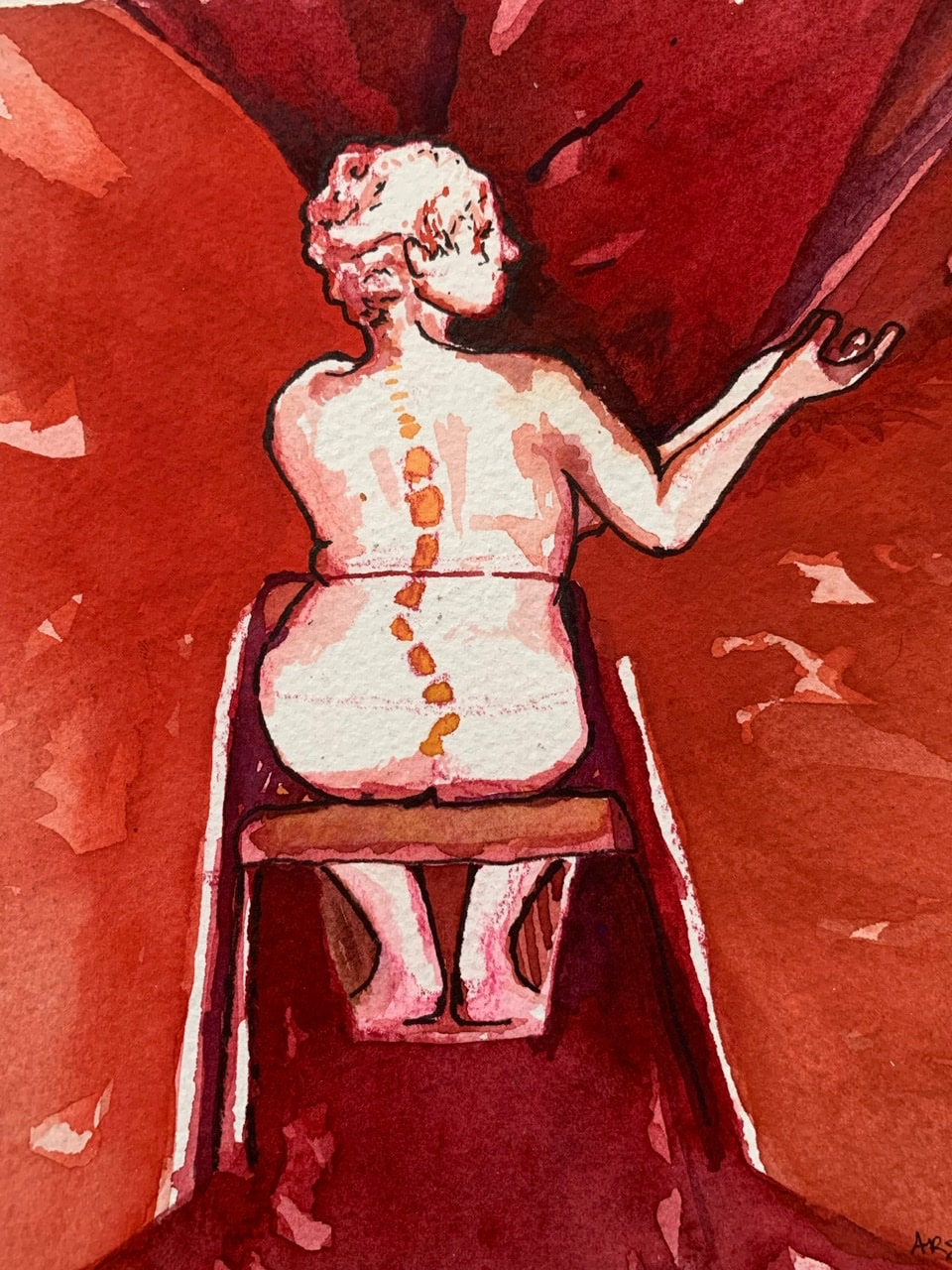 A watercolor image of the back of a woman seated in a wheelchair. She is outlined in a dark brown and surrounded with shades od red.