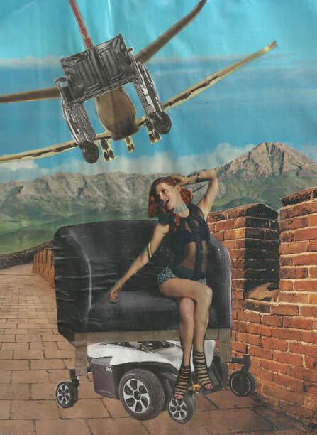 A smiling redheaded woman on a large modern chair with a wheelchair base on a walkway with mountains in the background. A wheelchair airplane flies above.