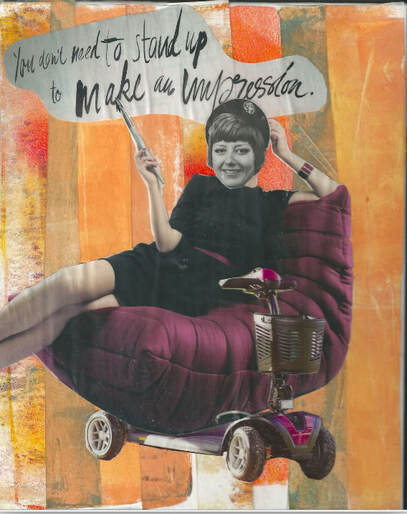 Girl laying on a purple couch/mobility scooter with orange background. The words,